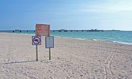 Καμία κολύμβηση, επικίνδυνο σημάδι ρευμάτων Στοκ φωτογραφία με δικαίωμα ελεύθερης χρήσης