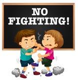 Καμία σημάδι πάλης και πάλη αγοριών ελεύθερη απεικόνιση δικαιώματος