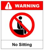 Καμία συνεδρίαση Μην καθίστε στην επιφάνεια, σημάδι απαγόρευσης, διανυσματική απεικόνιση στο λευκό απαγορευμένο σύμβολο προειδοπο απεικόνιση αποθεμάτων