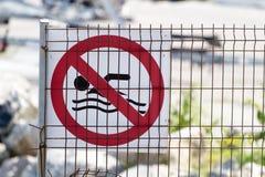 Καμία swmming προειδοποίηση Στοκ Φωτογραφία