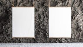 Καμβάς δύο που κρεμιέται στη στοά με το εσωτερικό τοίχων βράχου απεικόνιση αποθεμάτων