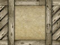 Καμβάς και ξύλινο υπόβαθρο Στοκ φωτογραφία με δικαίωμα ελεύθερης χρήσης