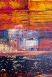 καμβάς που χρωματίζεται αφηρημένος Ελαιοχρώματα σε μια παλέτα Στοκ Εικόνα