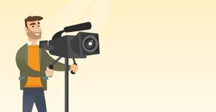 Καμεραμάν με μια κάμερα κινηματογράφων στο τρίποδο απεικόνιση αποθεμάτων