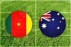 Καμερούν εναντίον του αγώνα ποδοσφαίρου της Αυστραλίας Στοκ φωτογραφία με δικαίωμα ελεύθερης χρήσης
