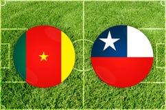 Καμερούν εναντίον του αγώνα ποδοσφαίρου της Χιλής Στοκ Φωτογραφίες