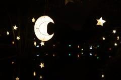 Καμμένος αστέρι και φεγγάρι-διαμορφωμένα φανάρια εγγράφου που κρεμούν στα δέντρα Στοκ εικόνα με δικαίωμα ελεύθερης χρήσης