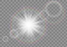 Καμμένος αστέρι σπινθηρίσματος ακτίνων ήλιων με την επίδραση φλογών φακών στο διαφανές διανυσματικό υπόβαθρο