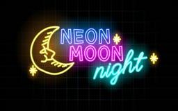 Καμμένος γραμμές νέου, έννοια νύχτας φεγγαριών νέου απεικόνιση αποθεμάτων