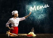 Καμμένος κατάλογος επιλογής λέξης αφής μαγείρων γυναικών Στοκ φωτογραφίες με δικαίωμα ελεύθερης χρήσης