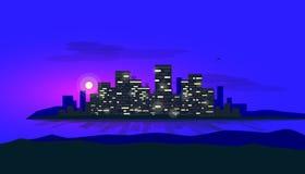 Καμμένος νησί πόλεων νύχτας στον ορίζοντα κόλπων με το φεγγάρι στο υπόβαθρο απεικόνιση αποθεμάτων