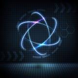 Καμμένος πυρηνικό εικονίδιο νέου με τα φωτεινά σπινθηρίσματα Στοκ εικόνα με δικαίωμα ελεύθερης χρήσης