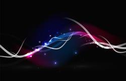 Καμμένος ρέοντας κύματα και αστέρια στο σκοτεινό διάστημα ελεύθερη απεικόνιση δικαιώματος