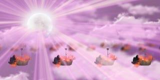 Καμμένος σκάφη με το ρόδινο ουρανό με τις θαμπάδες απεικόνιση αποθεμάτων