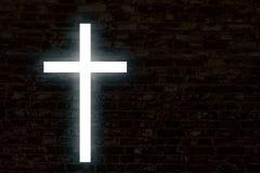 Καμμένος σταυρός σε έναν τουβλότοιχο Στοκ φωτογραφίες με δικαίωμα ελεύθερης χρήσης