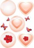 Καμμένος σφαίρες και καρδιές Διακοσμητικά στοιχεία στην ημέρα βαλεντίνων Στοκ Φωτογραφία