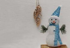 Καμμένος χιονάνθρωπος σε μια μπλε ΚΑΠ στοκ εικόνες