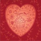 Καμμένος doodle καρδιά Στοκ Εικόνες