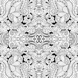 Καμμμένη mehndi διακόσμηση Tracery Εθνικό μοτίβο, μονοχρωματική δυαδική αρμονική σύσταση doodle μαύρο λευκό διάνυσμα Στοκ φωτογραφίες με δικαίωμα ελεύθερης χρήσης