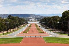 Καμπέρρα - Αυστραλία - άποψη κάτω από την παρέλαση Anzac προς Parlament Στοκ Φωτογραφία
