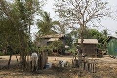 Καμποτζιανά παραδοσιακά ξύλινα σπίτια Battambang, Καμπότζη Στοκ Φωτογραφία