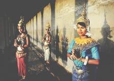 Καμποτζιανή έννοια Acient Angkor Wat Apsara ύφους χαιρετισμού Στοκ φωτογραφία με δικαίωμα ελεύθερης χρήσης