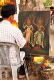 Καμποτζιανός ζωγράφος, Angkor wat Στοκ Φωτογραφία