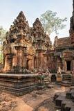 Καμποτζιανός ναός Banteay Srei ρόδινο Templ Στοκ εικόνα με δικαίωμα ελεύθερης χρήσης
