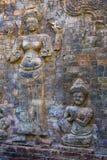 Καμπότζη η banteay λίμνη της Καμπότζης angkor lotuses συγκεντρώνει siem το ναό srey Χαρασμένα σχέδια πετρών στον αιώνα Banteay Sr Στοκ εικόνες με δικαίωμα ελεύθερης χρήσης