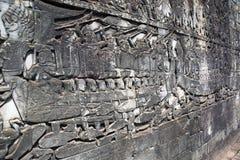 Καμπότζη η banteay λίμνη της Καμπότζης angkor lotuses συγκεντρώνει siem το ναό srey Χαρασμένα σχέδια πετρών στους τοίχους ναών Στοκ φωτογραφίες με δικαίωμα ελεύθερης χρήσης