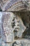 Καμπότζη, Angkor Thom - ο ναός Bayon, το άτομο χάρασε στην πέτρα Στοκ Φωτογραφία