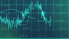 Καμπύλες ανόδου και πτώσης στο ηλεκτρονικό διάγραμμα, στατιστική παρουσίαση ανάλυσης Στοκ Εικόνες