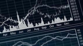Καμπύλες αύξησης και πτώσης στο διάγραμμα, παρουσίαση της ετήσιας οικονομικής κατάστασης στοκ εικόνες με δικαίωμα ελεύθερης χρήσης