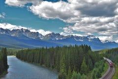 Καμπύλη Morant ` s, το διάσημο σημείο κατά μήκος του καναδικού ειρηνικού σιδηροδρόμου, Καναδάς στοκ εικόνες