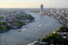 Καμπύλη ποταμών Phraya Chao το απόγευμα Στοκ εικόνα με δικαίωμα ελεύθερης χρήσης