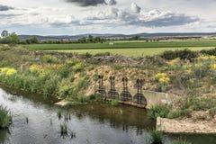 Κανάλι άρδευσης με την κλειδαριά Zamora, Ισπανία Στοκ Εικόνα