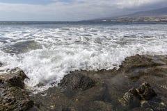 Κανάριο νησί las Ισπανία tenerife παραλιών της Αμερικής Παραλία για τα surfers, Tenerife, Ισπανία Πέτρινη παραλία Playa de las Αμ Στοκ φωτογραφία με δικαίωμα ελεύθερης χρήσης
