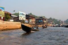 Κανάλι λιμένων Nyaungshwe Στοκ εικόνα με δικαίωμα ελεύθερης χρήσης