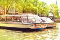 Κανάλι στην πόλη του Άμστερνταμ, Κάτω Χώρες Στοκ Εικόνες
