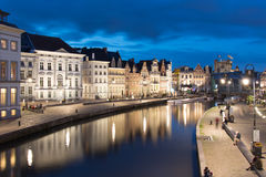 Κανάλι Graslei στο κέντρο της Γάνδης στο Βέλγιο Στοκ Φωτογραφία
