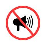 Κανένας ήχος, κανένας θόρυβος, σημάδι απαγόρευσης, διανυσματική απεικόνιση απεικόνιση αποθεμάτων