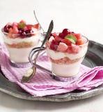 Κανένας-ψήστε cheesecake με compote μήλων και των βακκίνιων Στοκ φωτογραφία με δικαίωμα ελεύθερης χρήσης