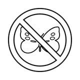 Κανένα εικονίδιο σημαδιών πεταλούδων, ύφος περιλήψεων Στοκ φωτογραφία με δικαίωμα ελεύθερης χρήσης
