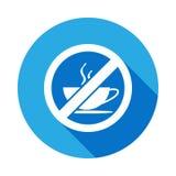 Κανένα επίπεδο εικονίδιο φλυτζανιών καφέ με τη μακριά σκιά ελεύθερη απεικόνιση δικαιώματος
