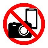 Κανένα κάμερα και κινητό τηλεφωνικό σημάδι Στοκ εικόνα με δικαίωμα ελεύθερης χρήσης