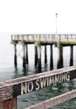Κανένα κολυμπώντας σημάδι στο φράκτη αποβαθρών Coney Island Στοκ Φωτογραφία