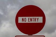 Κανένα κόκκινο σημάδι εισόδων Στοκ εικόνα με δικαίωμα ελεύθερης χρήσης