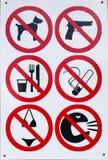 Κανένα μπικίνι, κάπνισμα, πυροβόλο όπλο και περισσότερο Στοκ Φωτογραφίες