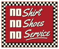 Κανένα πουκάμισο κανένα παπούτσι κανένα αναδρομικό σημάδι γευματιζόντων υπηρεσιών απεικόνιση αποθεμάτων