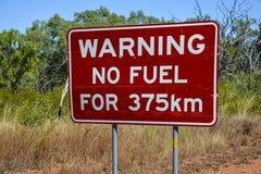 Κανένα προειδοποιητικό σημάδι καυσίμων στον εσωτερικό της Αυστραλίας Στοκ φωτογραφία με δικαίωμα ελεύθερης χρήσης